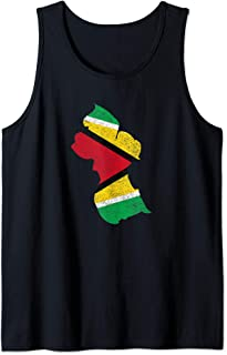 Guyana Country with Guyanese Flag distressed Tank Top