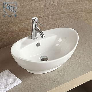 White Oval Ceramic Bathroom Kitchen Vessel Sink Porcelain Vanity Above Counter Basin Bowl (Cl-1038)