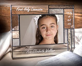 First Communion Gifts for Girls Or Boys Personalized Picture Frame Custom Engraved Glass 4x6 Horizontal Photo Grey and Antique Yellow J Devlin Pic 392-46H EP575