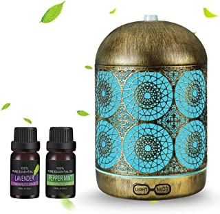 infinitoo Essential Oil Diffuser with 2 X 10ml Essential Oil, 300ml Humidifier Ultrasonic Metal Aromatherapy Diffuser with...
