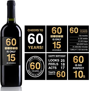 60th Birthday Wine Bottle Labels or Stickers Present,1958 Birthday Gifts For Men or Women,60th birthday decorations,Funny Sixty Black Gold Party Decoration Centerpiece Supplies.