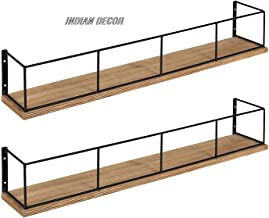 "INDIAN DECOR 1844 Pack of 2 Wood and Metal Floating Wall Shelves, 18"", Rustic Brown and Black"