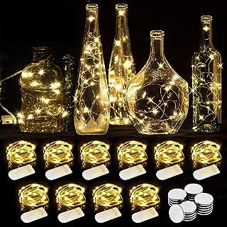 WEARXI Guirlande Lumineuse LED - 10 Pack 2M 20LEDs Fil de Cuivre, Guirlande Lumineuses Piles pour Vase Long et Fin, Table,...