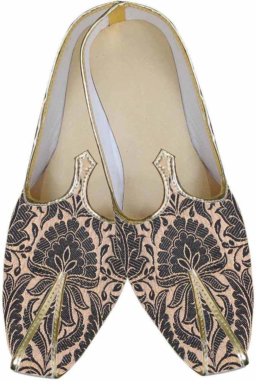 INMONARCH Mens Black Brocade Indian shoes Peach Flower MJ0044