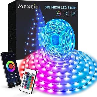 10M Tiras Led, Maxcio Bluetooth Luces Led Habitación con Modo Música, 24 Teclas Control Remoto, 8 DIY Escenas, Tiras Led r...