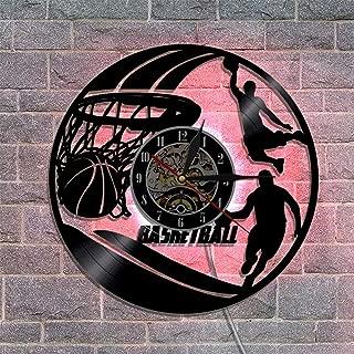 バスケットボール ビニールレコード壁掛け時計 サイレントクォーツムーブメント リモコンナイトライト クリエイティブウォールデコレーションギフト 30cm,A