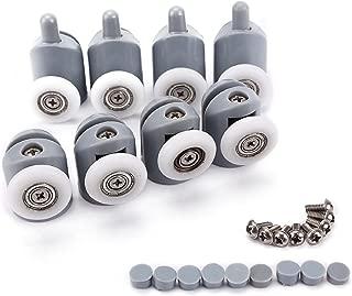 Shower Door Rollers, Lance Home Set Of 8 Single Shower Door Runners / Wheels / Pulleys / Guides 23mm Diameter Home Bathroom DIY Replacement Parts(4 Upper Rollers and 4 Bottom Rollers)