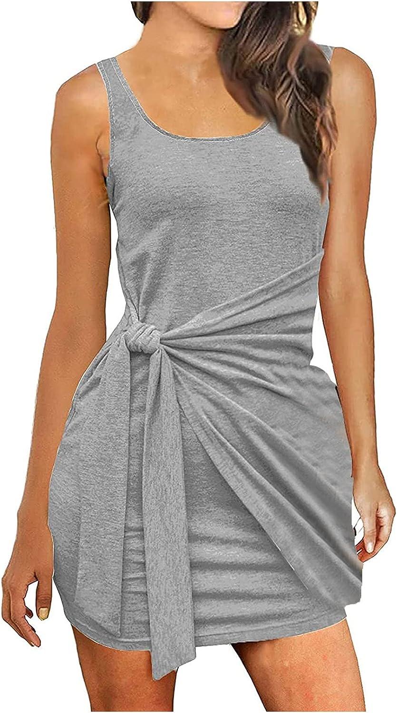 TopLAD Dresses for Women Women's Sexy Bandage Ribbed Tank Dress Slim Fit Sleeveless Mini Dresses Gray
