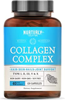 Multi Collagen Capsules Complex – High Absorption Collagen Peptides Types (I, II, III, V & X) – Collagen Supplements for J...