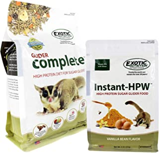 Glider Complete Food Starter Package - Nutritionally Complete Pellet Diet & High Protein Supplemental Food for Sugar Gliders