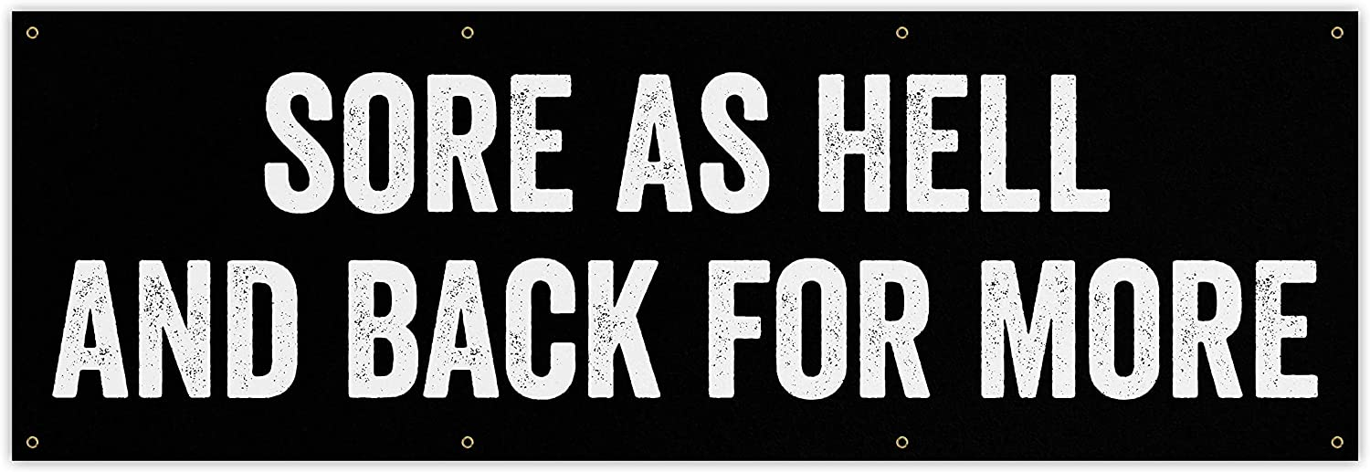 [Alternative dealer] Sore As Hell Banner - Home Gym Art Decor Fi Wall Large Quote Max 69% OFF