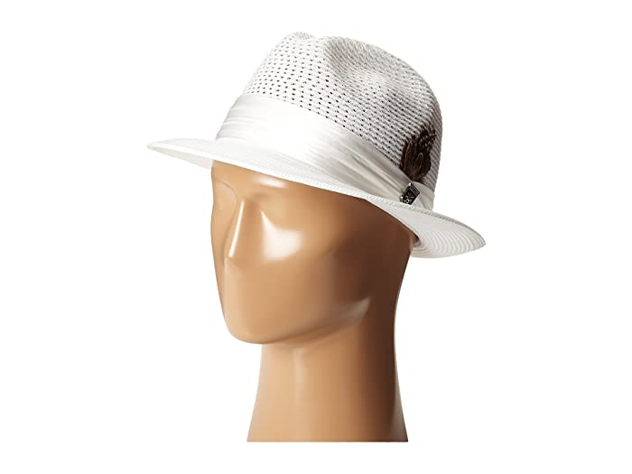 Stacy Adams Polybraid Pinch Front Fedora with Silk Band (White) Fedora Hats