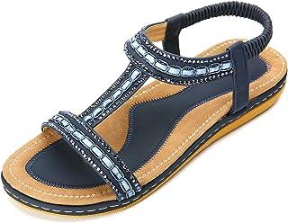 gracosy Sandales Femmes Plates, Chaussures Sandales en Cuir PU Nu Pieds Été à Talon Compensé Claquette Plage Semelle Confo...