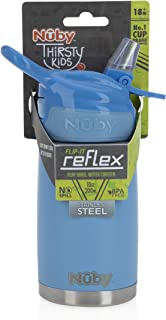 Nuby Thirsty Kids No Spill Flip-It Reflex Stainless Steel Travel Cup, 10 Oz, Blue
