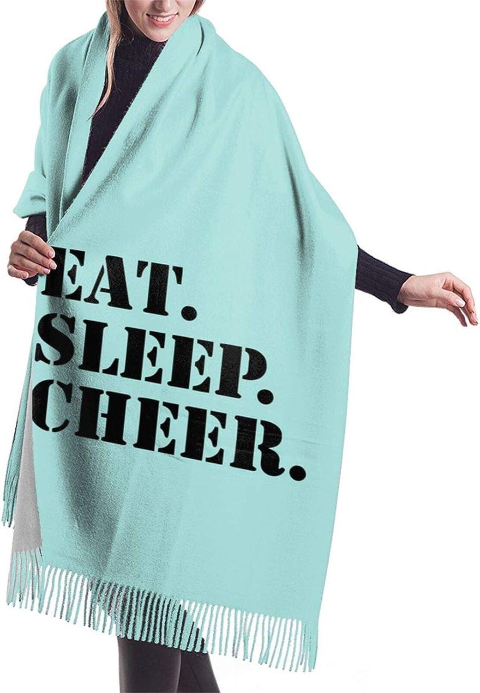 Womens Soft Cashmere Scarf,Eat Sleep Cheer Shawl Scarf,Premium Large Pashmina,Warm Wrap Blanket Solid Shawl Elegant Wrap
