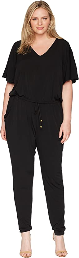 Plus Size V-Neck Flutter Sleeve Jumpsuit