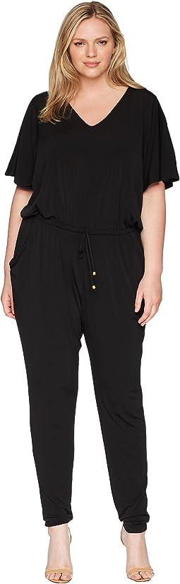 010576ccda260 Plus Size V-Neck Flutter Sleeve Jumpsuit