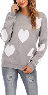 Cogild Women's Pullover Sweater Long Sleeve Crewneck Jumper Cable Knit Heart Cute Sweater Tops