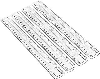 خط کش پلاستیکی 12 اینچی Amazon Basics با گیره انگشتی ، 4 بسته