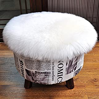 Softlife Round Faux Fur Sheepskin Rug Chair Cover Seat Cushion Pad Soft Area Rugs for Bedroom Living Girls Room Sofa Home Decor Carpet (1.2ft x 1.2ft, White)