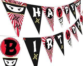 Ninja Happy Birthday Banner Pennant - Ninja Party Banner - Made in The USA