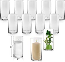 Set of 12 Glass Cylinder Vases 8 Inch Tall - Multi-use: Pillar Candle, Floating Candles Holders or Flower Vase – Perfect a...