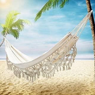 TMcom Hammock, Handmade Organic Cotton Classic Hammock Macrame Fringe Double Hammocks Tree Hammock Swing Bed for Camping,Beach,Bedroom, Patio,Patio, Porch, Outdoor,Indoor,Wedding Decor,Yard (Beige)