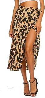 Newchoice Women's Boho Leopard Skirt High Low Split...