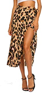 Women's Boho Leopard Skirt High Low Split Summer Beach...