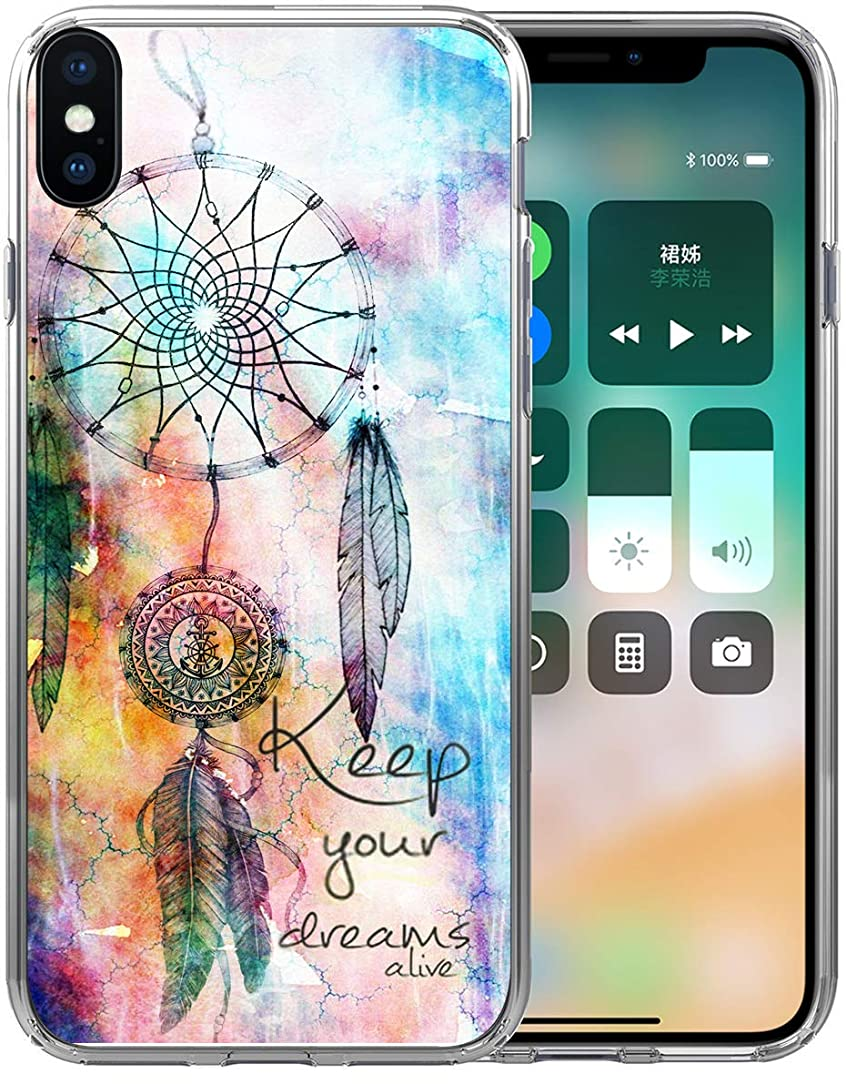XS Max Case Dreamcatcher/IWONE Designer Rubber Durable Protective Skin Transparent Cover Shockproof Compatible with iPhone Xs Max [X Max] 2018 6.5 Inches Dream Catcher Keep Your Dreams Alive Writings