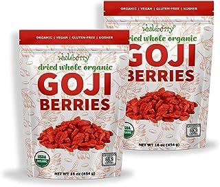 Wholeberry organic wolfberry gouqi Goji berries 32oz| Raw, Vegan, Gluten Free Super food High in Plant Based Protein, Diet...