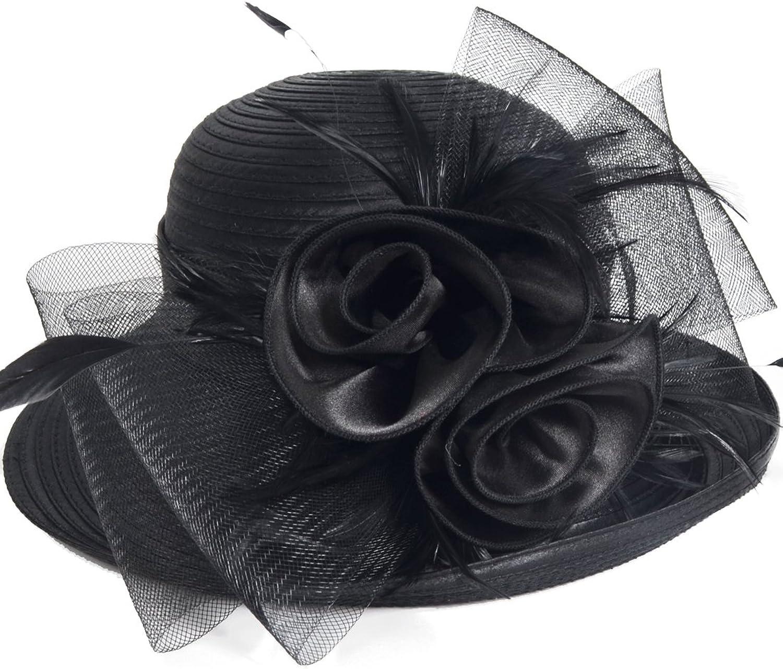 Lightweight Kentucky Derby Church Dress Wedding Hat  S052 (BowlerBlack)