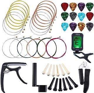 Aboodah Kit de cambio de cuerdas de guitarra Kit de accesorios de guitarra Herramienta de mantenimiento para tocar la guit...