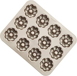 CHEFMADE Donut Mold Cake Pan, 12-Cavity Non-Stick Flower-shaped Doughnut Bakeware, FDA Approved for Oven Baking (Champagne Gold)