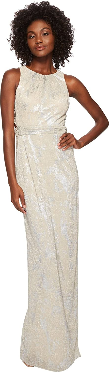 Adrianna Papell Women's Metallic Foil Long Halter Gown Champagne 8
