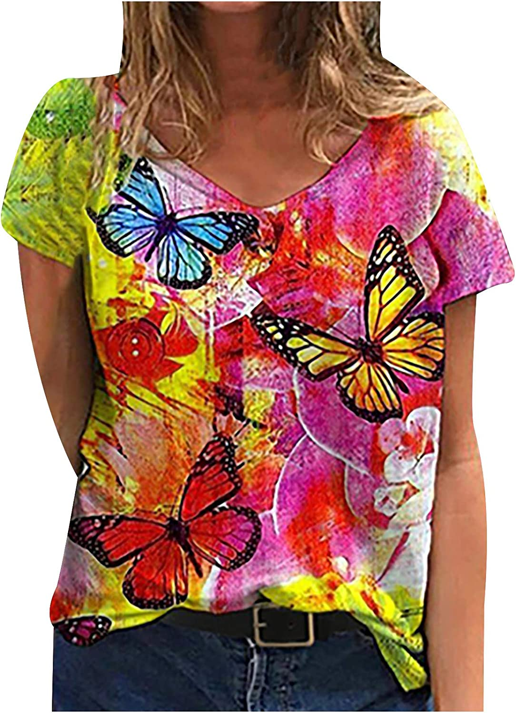 Tie-Dye Butterfly T-Shirt Womens Retro Loose Bombing new work Feminine Tops Graph Super-cheap