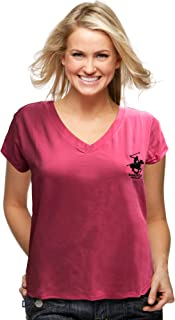 Beverly Hills Polo Club Women's Tech V-Neck Short Sleeve T-Shirt Classic-Fit Casual Tops and Tee