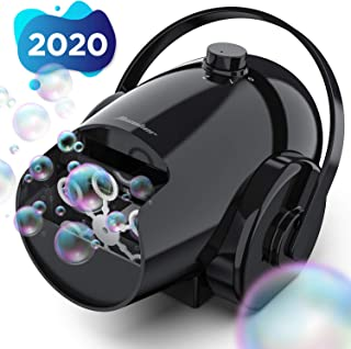 Hicober Automatic Bubble Machine for Kids, Portable Professional Bubble Machine for Parties, Bubble Blower Battery Operated Plug-in Bubble Maker with 2 Speed Levels