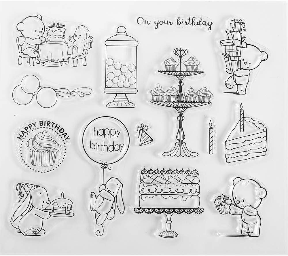 On Sale N Denami Design Rectangular Happy Birthday Stamp for Card Making or Scrapbooking