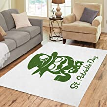 Pinbeam Area Rug Saint Patricks Day Hipster Leprechaun Pipe Beard Hat Home Decor Floor Rug 3' x 5' Carpet