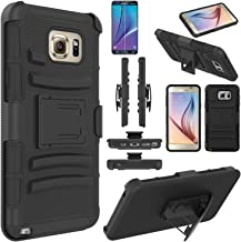 Note 5 Case, EC™ Hard Shock-Resistant Heavy Duty Armor Holster Protective Case Cover with Belt Swivel Clip + Kickstand for Samsung Galaxy Note 5 (Black)
