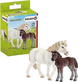 Schleich-42423 Figuras de Yegua Potro Poni, Colección Horse Club, Color marrón, Blanco (42423)