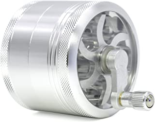 4 Part Aluminum Diameter 63mm Handle Herb Grinder Spice Miller (Silver)