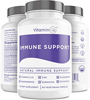 Immune Support w/Vitamin C and Zinc, Vitamin D3, Elderberry, Quercetin, Glutathione and Echinacea, Natural Immune Booster ...