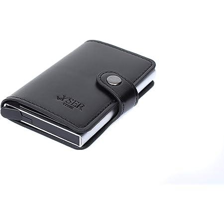 AL AJAL Credit Card Holder RFID Blocking Leather Pop Up Card Case with Banknote & ID Window Slim Bifold Men Wallet Holds 4-6 Cards & Cash, Black