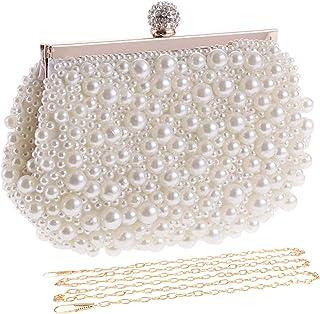 UBORSE Clutch mit künstlichen Perlen für Damen, für formelle Braut, Hochzeit, Clutch, Abschlussball, Cocktail-Party, Handt...