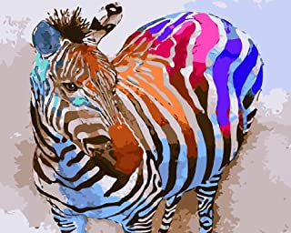 DIY Paint by Numbers Kit for Adults - Colorful Zebra | Paint by Numbers Landscape Scene Paintings Arts Craft for Home Wall Decor | Pre-Printed Art-Quality Canvas, 3 Brushes, 24 Acrylic Paints Included