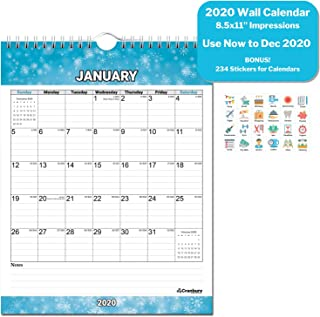 Small 2020 Wall Calendar (Seasons) 8.5x11, Use Now to December 2020, Stunning Hanging Calendar 2020 for Wall, with Stickers for Calenders, by Cranbury