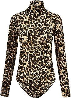 5293c0838f06 AIMINY Women s Sexy Long Sleeve Snake Skin Print Bodysuit Jumpsuit  Turtleneck Pullover Leotard Tops Clubwear