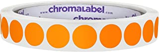 ChromaLabel 1/2 Inch Round Permanent Color-Code Dot Stickers, 1000 Labels per Roll, Orange